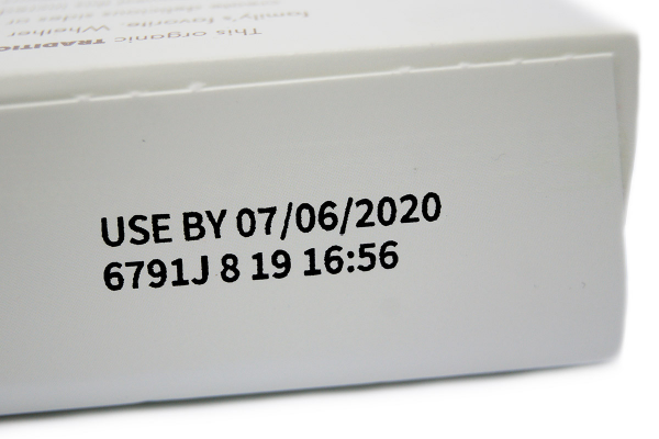 Uncoated Paperboard Box - Date code and custom code made with the TC12 thermal inkjet coder