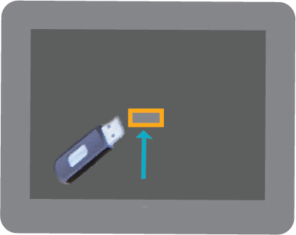 Graphic of USB going in TC12 touchscreen