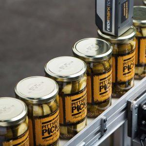 TC12 Thermal Inkjet Printer Printing on Metal Lids on Cans