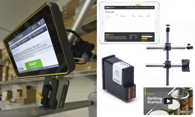 Redimark TC12 thermal inkjet date coder, swivel mount, ink cartridge, how-to video, and account view