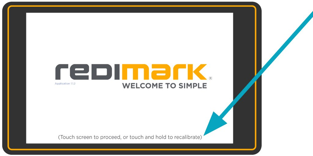 Welcome screen after rebooting on Redimark TC12 touchscreen