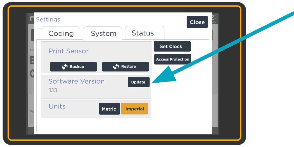 Software Update Button on Redimark TC12 touchscreen