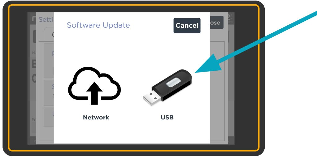 USB selection screen on Redimark TC12 touchscreen