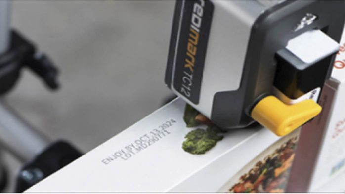 TC12 date coder printing on folding carton